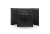 Nashville Predators  Laser Engraved Black Trifold Wallet
