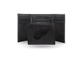 Detroit Red Wings  Laser Engraved Black Trifold Wallet