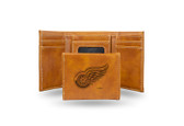 Detroit Red Wings  Laser Engraved Brown Trifold Wallet
