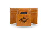 Minnesota Wild Laser Engraved Brown Trifold Wallet