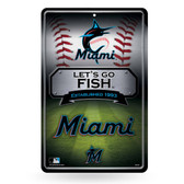 Miami Marlins 11X17 Large Embossed Metal Wall Sign