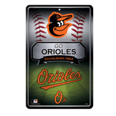 Baltimore Orioles 11X17 Large Embossed Metal Wall Sign