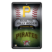 Pittsburgh Pirates 11X17 Large Embossed Metal Wall Sign