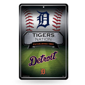 Detroit Tigers 11X17 Large Embossed Metal Wall Sign