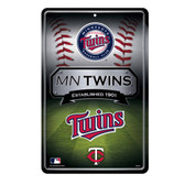 Minnesota Twins 11X17 Large Embossed Metal Wall Sign