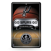 San Antonio Spurs 11X17 Large Embossed Metal Wall Sign