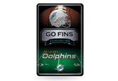 Miami Dolphins 11X17 Large Embossed Metal Wall Sign