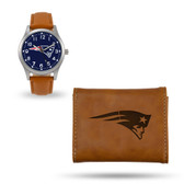 New England Patriots Sparo Brown Watch and Wallet Gift Set