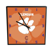 Clemson Tigers 3D Black Square Clock