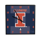 Illinois Fighting Illini 3D Black Square Clock