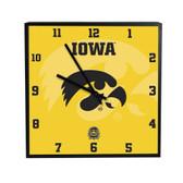 Iowa Hawkeyes 3D Black Square Clock