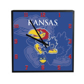 Kansas Jayhawks 3D Black Square Clock