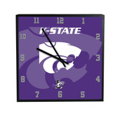 Kansas State Wildcats 3D Black Square Clock