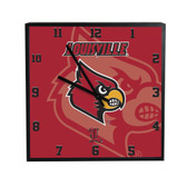 Louisville Cardinals 3D Black Square Clock