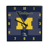 Michigan Wolverines 3D Black Square Clock