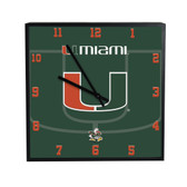 Miami Hurricanes 3D Black Square Clock