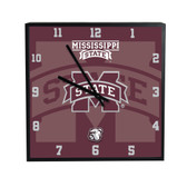 Mississippi State Bulldogs 3D Black Square Clock