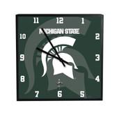 Michigan State Spartans 3D Black Square Clock