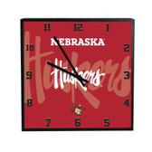 Nebraska Cornhuskers 3D Black Square Clock