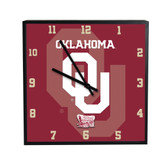 Oklahoma Sooners 3D Black Square Clock