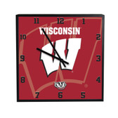 Wisconsin Badgers 3D Black Square Clock