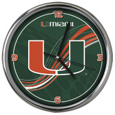 Miami Hurricanes 12 Dynamic  Chrome Clock