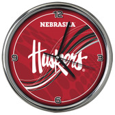 Nebraska Cornhuskers 12 Dynamic  Chrome Clock