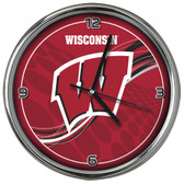 Wisconsin Badgers 12 Dynamic  Chrome Clock