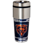 Chicago Bears 16  oz. Stainless Steel Travel Tumbler Metallic Graphics