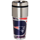 New England Patriots 16  oz. Stainless Steel Travel Tumbler Metallic Graphics