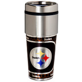 Pittsburgh Steelers 16  oz. Stainless Steel Travel Tumbler Metallic Graphics