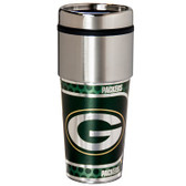 Green Bay Packers 16  oz. Stainless Steel Travel Tumbler Metallic Graphics
