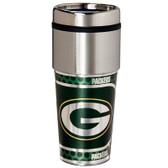 Green Bay Packers 16  oz. Stainless Steel Travel Tumbler Metallic Graphics