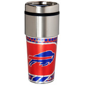 Buffalo Bills 16  oz. Stainless Steel Travel Tumbler Metallic Graphics