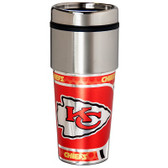 Kansas City Chiefs 16  oz. Stainless Steel Travel Tumbler Metallic Graphics
