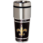 New Orleans Saints 16  oz. Stainless Steel Travel Tumbler Metallic Graphics