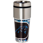 Carolina Panthers 16  oz. Stainless Steel Travel Tumbler Metallic Graphics