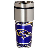 Baltimore Ravens 16  oz. Stainless Steel Travel Tumbler Metallic Graphics