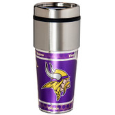 Minnesota Vikings 16  oz. Stainless Steel Travel Tumbler Metallic Graphics
