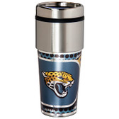 Jacksonville Jaguars 16  oz. Stainless Steel Travel Tumbler Metallic Graphics