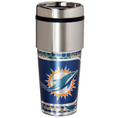 Miami Dolphins 16  oz. Stainless Steel Travel Tumbler Metallic Graphics