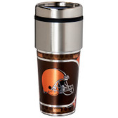 Cleveland Browns 16  oz. Stainless Steel Travel Tumbler Metallic Graphics