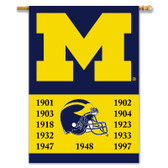 "Michigan Wolverines 2-Sided 28"" X 40"" Banner W/ Pole Sleeve Champ Years"