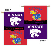 "Kansas - Kansas St. 2-Sided 28"" X 40"" Banner W/ Pole Sleeve House Divided"
