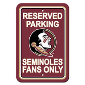 "Florida State Seminoles 12"" X 18"" Plastic Parking Sign"