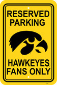 "Iowa Hawkeyes   12"" X 18"" Plastic Parking Sign"