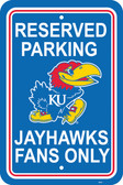 "Kansas Jayhawks 12"" X 18"" Plastic Parking Sign"