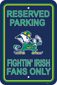 "Notre Dame Fighting Irish 12"" X 18"" Plastic Parking Sign"