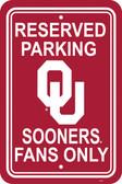 "Oklahoma Sooners 12"" X 18"" Plastic Parking Sign"