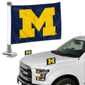 "Michigan Wolverines Ambassador 4"" x 6"" Car Flag Set of 2"